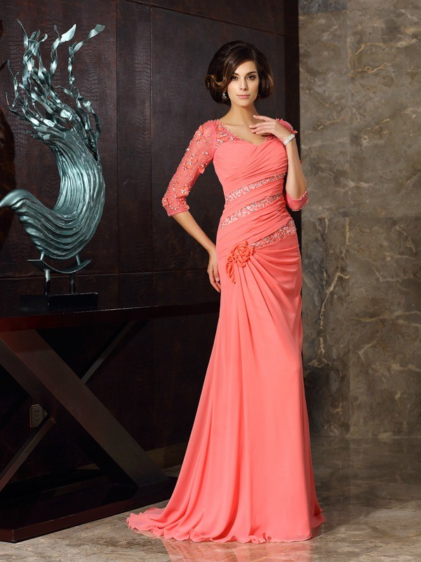 Fancy Mermaid Sweetheart 1/2 Sleeves Long Chiffon Mother of the Bride Dress