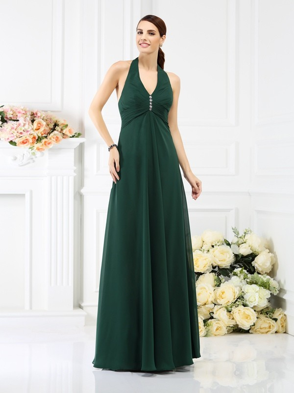 Fancy A-Line Halter Sleeveless Long Chiffon Bridesmaid Dress