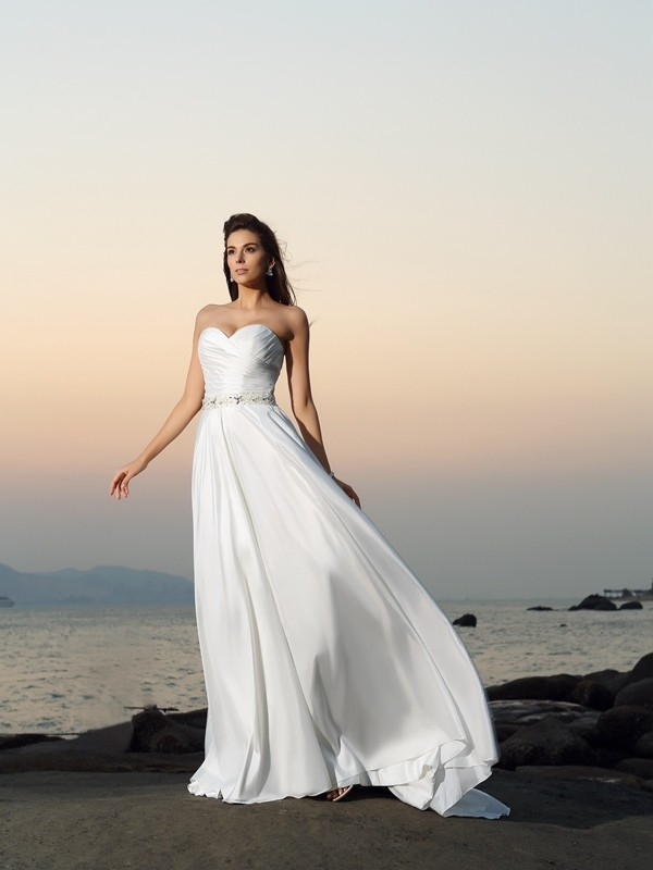 Gorgeous A-Line Sweetheart Sleeveless Long Taffeta Beach Wedding Dress