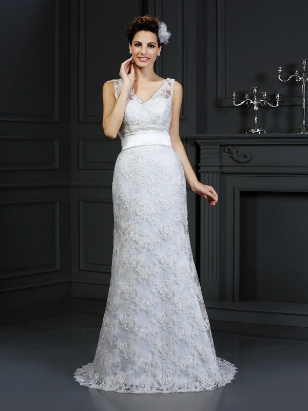 Gorgeous Mermaid Sweetheart Sleeveless Long Lace Wedding Dress