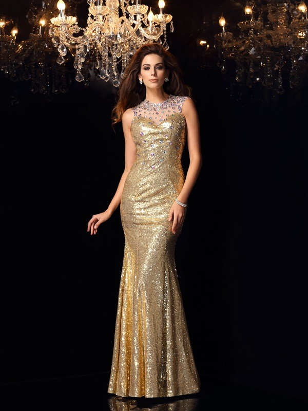 Gorgeous Mermaid High Neck Sleeveless Long Sequins Dress