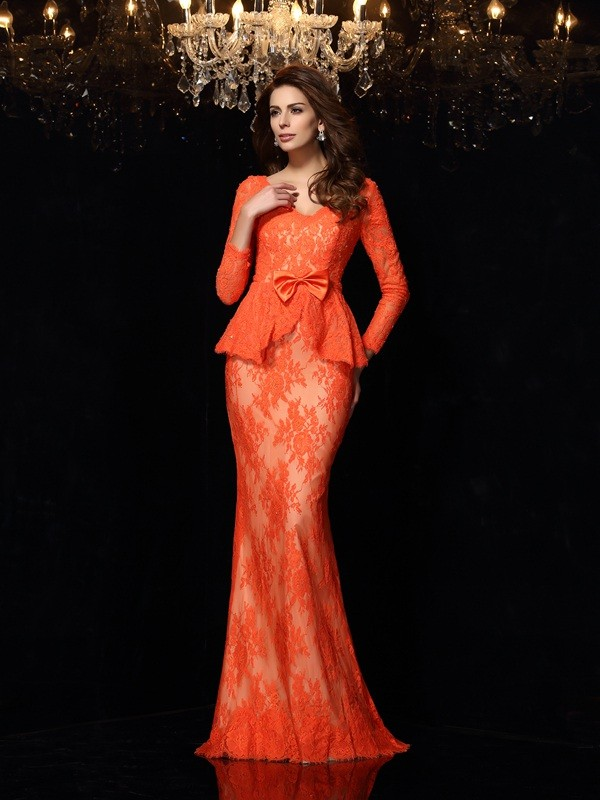 Unique Sheath V-neck Long Sleeves Long Lace Dress