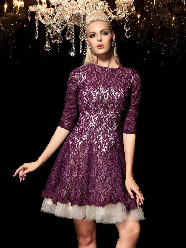 Unique A-Line Sheer Neck Lace 1/2 Sleeves Short Lace Cocktail Dress