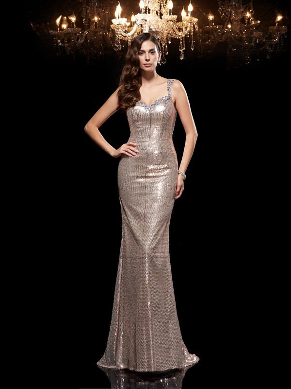 Unique Sheath Straps Sleeveless Long Sequins Dress