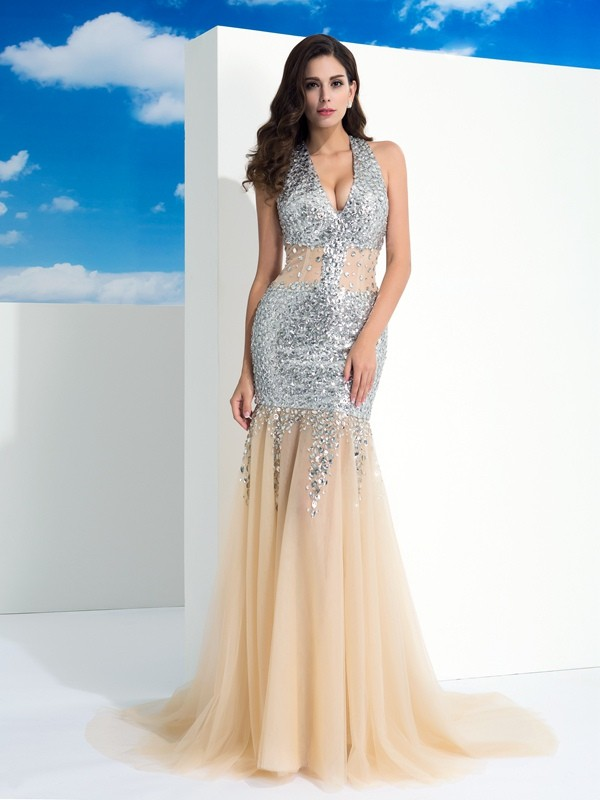 Unique Sheath Halter Sleeveless Long Net Dress