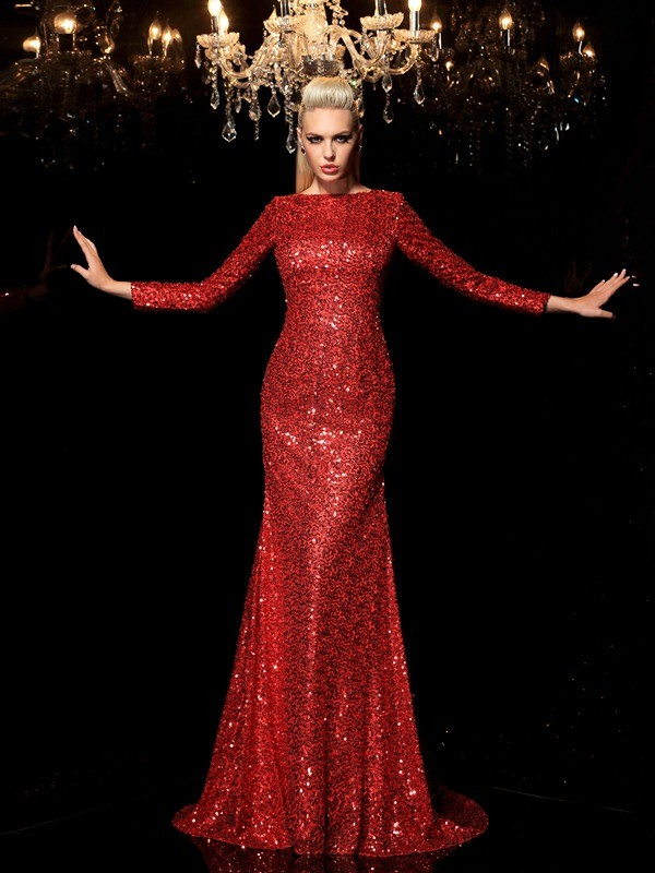 Unique Sheath Scoop Sequin Long Sleeves Long Sequins Dress