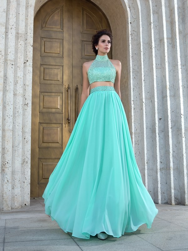 Nice A-Line High Neck Sleeveless Long Chiffon Two Piece Dress