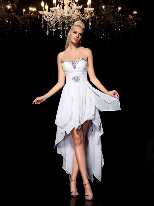 Nice A-Line Sweetheart Sleeveless High Low Chiffon Cocktail Dress