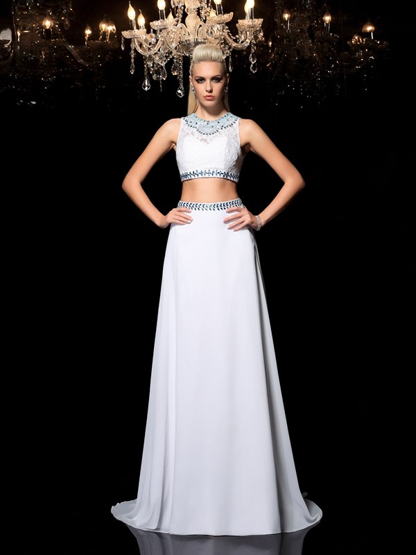 Nice A-Line Jewel Sleeveless Long Chiffon Two Piece Dress