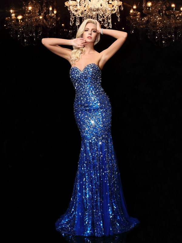 Nice Mermaid Sweetheart Sequin Sleeveless Long Sequins Dress