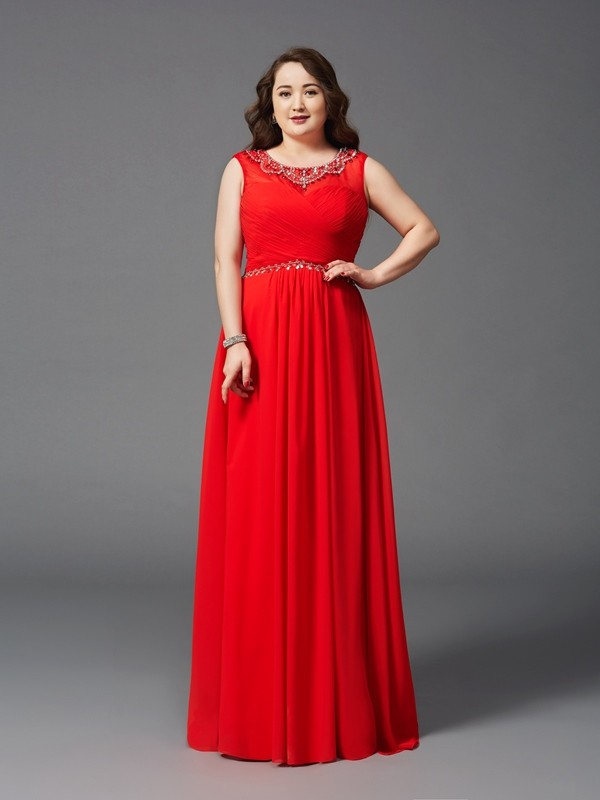 Nice A-Line Scoop Sleeveless Long Chiffon Plus Size Dress