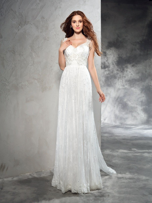 Nice A-Line Straps Lace Sleeveless Long Lace Wedding Dress