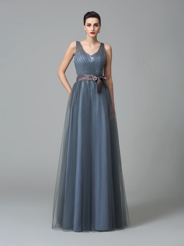 Nice A-Line Straps Sleeveless Long Net Bridesmaid Dress