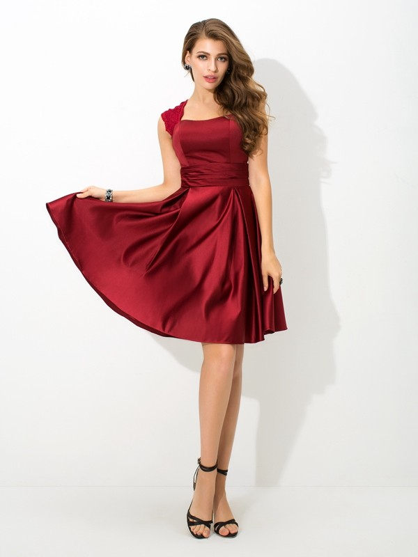 Nice A-Line Straps Sleeveless Short Satin Bridesmaid Dress