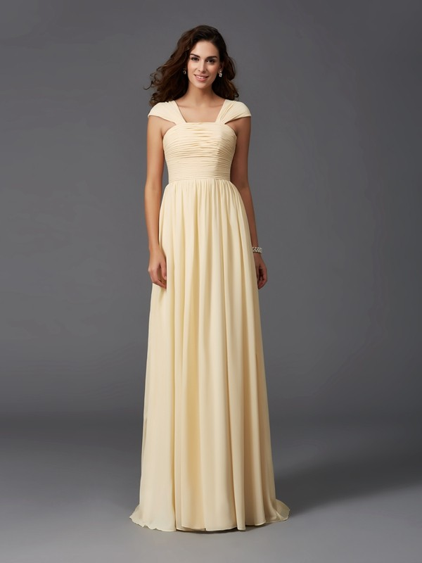 Nice A-Line Straps Sleeveless Long Chiffon Bridesmaid Dress