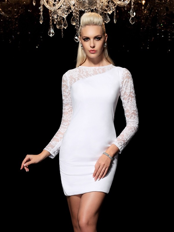 Amazing Sheath Scoop Lace Long Sleeves Short Elastic Woven Satin Cocktail Dress
