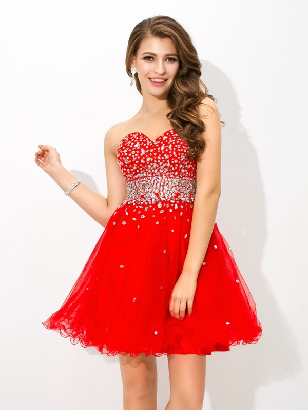 Amazing A-Line Sweetheart Sleeveless Short Organza Cocktail Dress