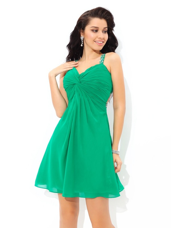 Amazing A-Line Straps Sleeveless Short Chiffon Cocktail Dress