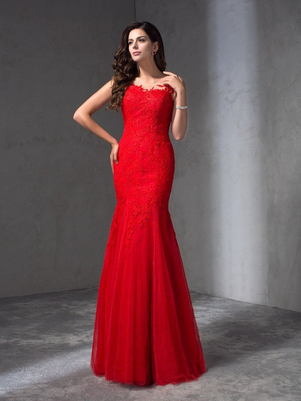 Amazing Sheath Scoop Sleeveless Long Lace Dress