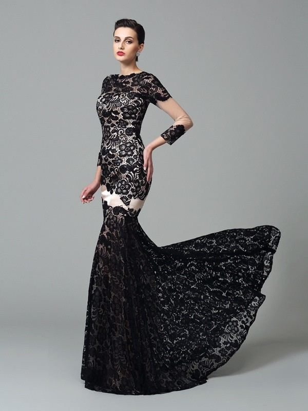 Amazing Sheath High Neck Lace 3/4 Sleeves Long Elastic Woven Satin Dress