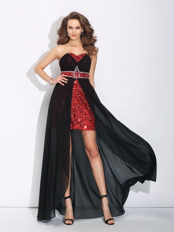 Glamorous A-Line Sweetheart Sequin Sleeveless High Low Chiffon Dress
