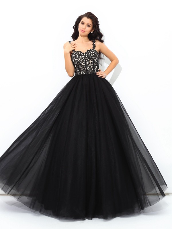 Glamorous Ball Gown Straps Sleeveless Long Net Quinceanera Dress