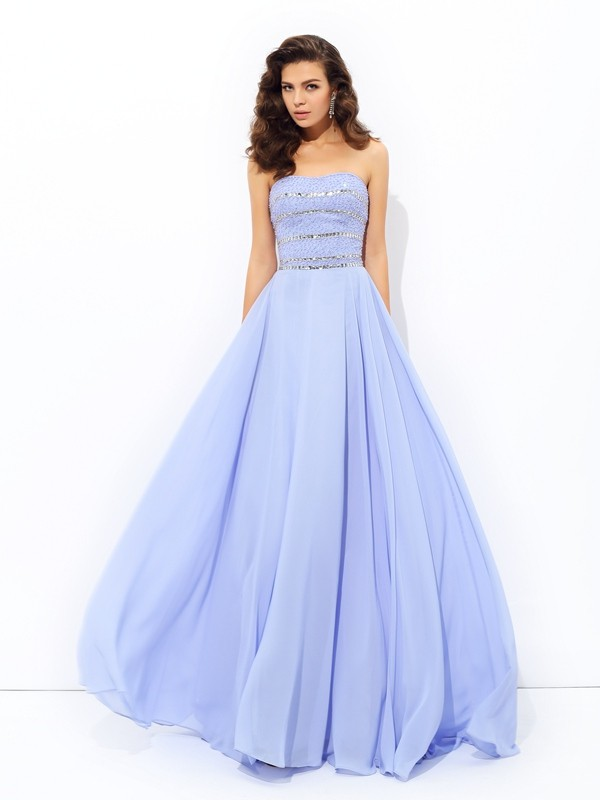 Glamorous A-Line Strapless Sleeveless Long Chiffon Dress