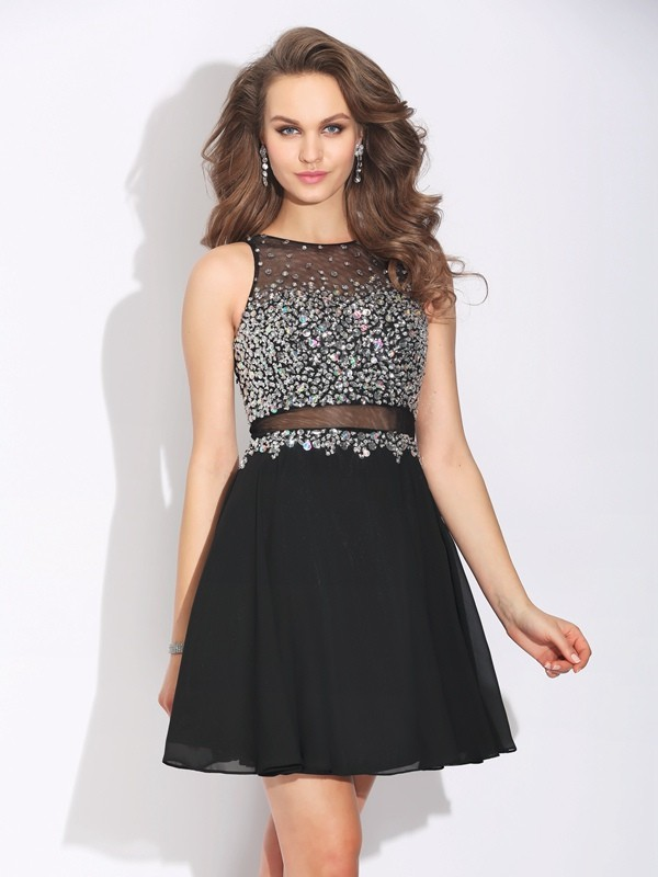 Glamorous A-Line Jewel Sleeveless Short Chiffon Dress