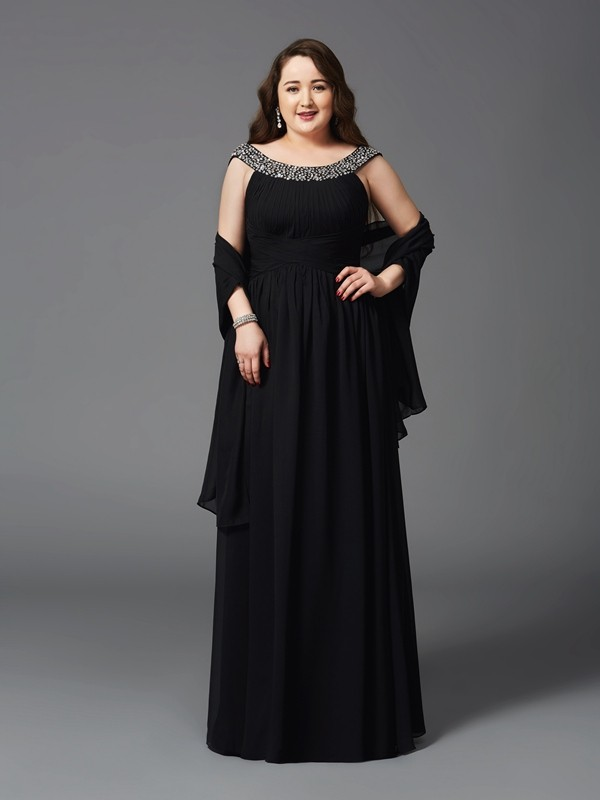Glamorous A-Line Scoop Sleeveless Long Chiffon Plus Size Dress