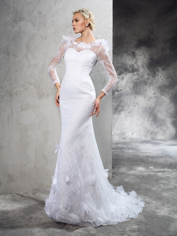 Glamorous Sheath Sheer Neck Long Sleeves Long Satin Wedding Dress