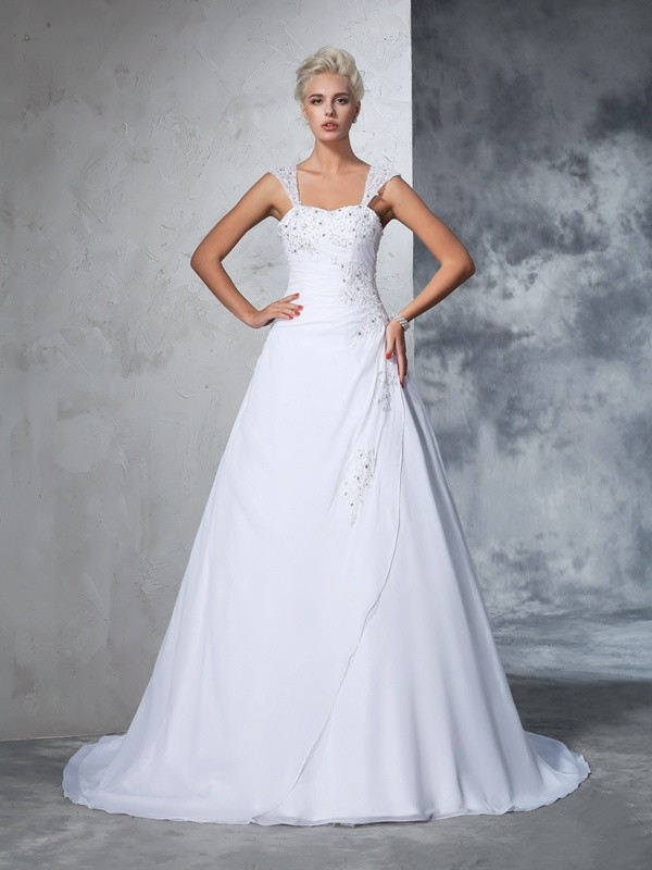 Glamorous Ball Gown Straps Sleeveless Long Chiffon Wedding Dress