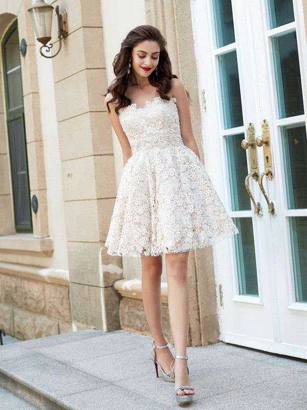 Beautiful A-Line Sweetheart Sleeveless Short/Mini Lace Dress