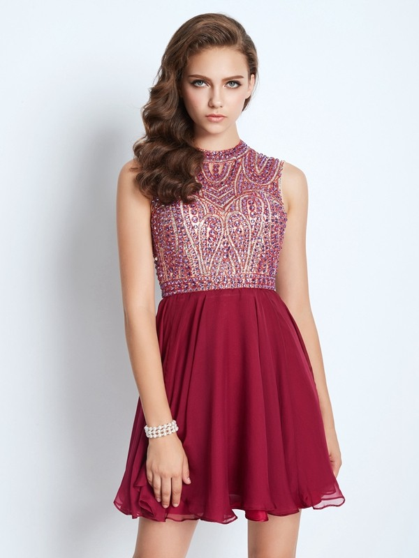 Beautiful A-Line Jewel Sleeveless Chiffon Short/Mini Dress