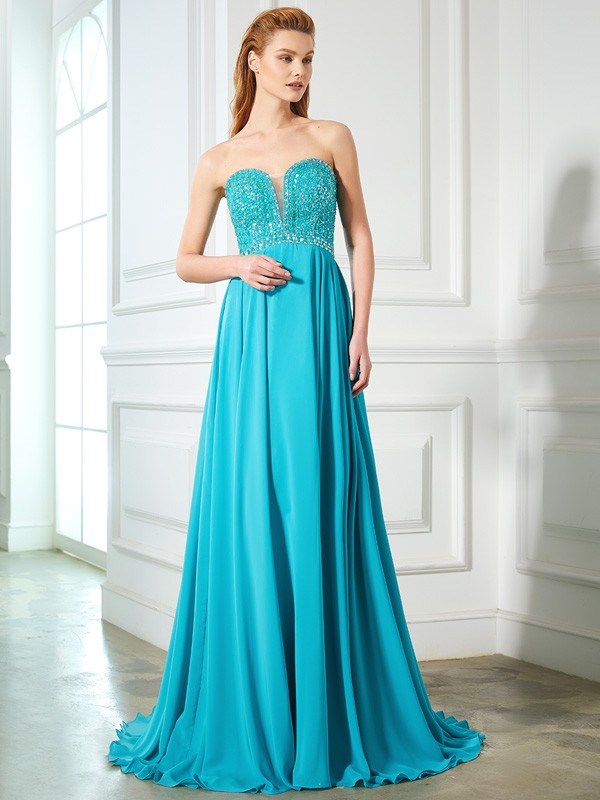 Beautiful A-Line Sweetheart Sleeveless Chiffon Sweep/Brush Train Dress