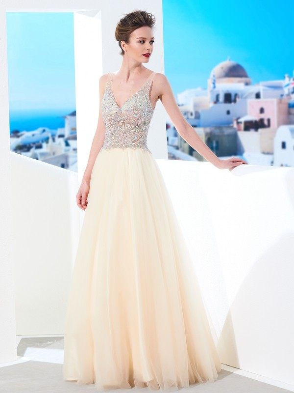 Affordable Ball Gown V-neck Sleeveless Floor-length Tulle Dress