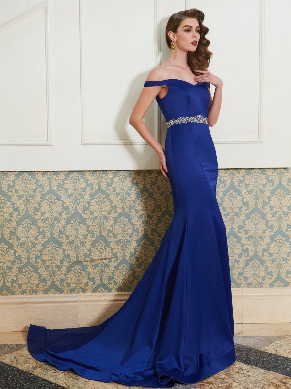 Affordable Mermaid Off-the-Shoulder Sleeveless Sweep/Brush Train Satin Dress
