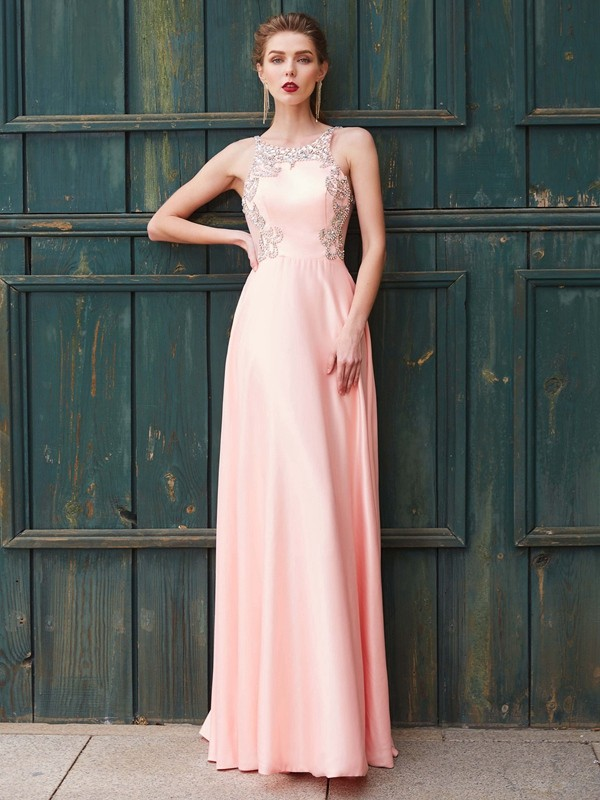 Discount A-Line Scoop Sleeveless Satin Floor-Length Dress