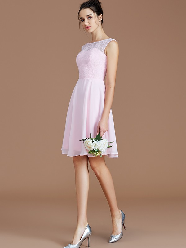 Fancy A-Line Bateau Sleeveless Lace Short/Mini Chiffon Bridesmaid Dress
