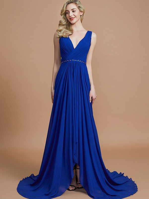 Gorgeous A-Line Sleeveless V-neck Chiffon Sweep/Brush Train Bridesmaid Dress