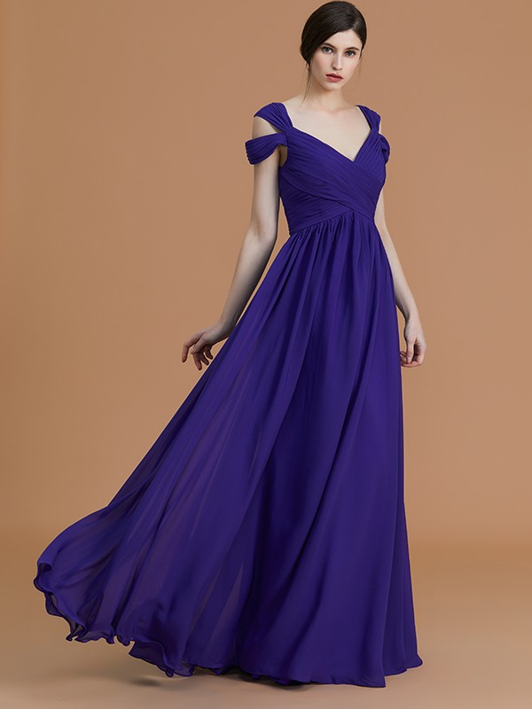 Unique A-Line Off-the-Shoulder Sleeveless Floor-Length Chiffon Bridesmaid Dress