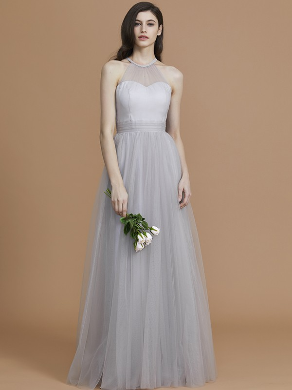 Gorgeous A-Line Halter Sleeveless Floor-Length Tulle Bridesmaid Dress