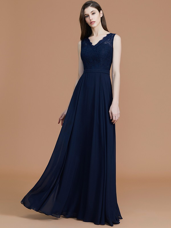 Perfect A-Line V-neck Sleeveless Floor-Length Lace Chiffon Bridesmaid Dress