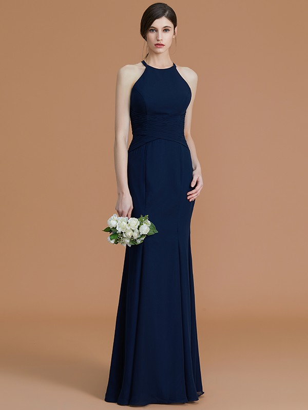 Charming Mermaid Halter Sleeveless Floor-Length Chiffon Bridesmaid Dress