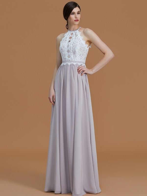 Unique A-Line Halter Sleeveless Floor-Length Lace Chiffon Bridesmaid Dress