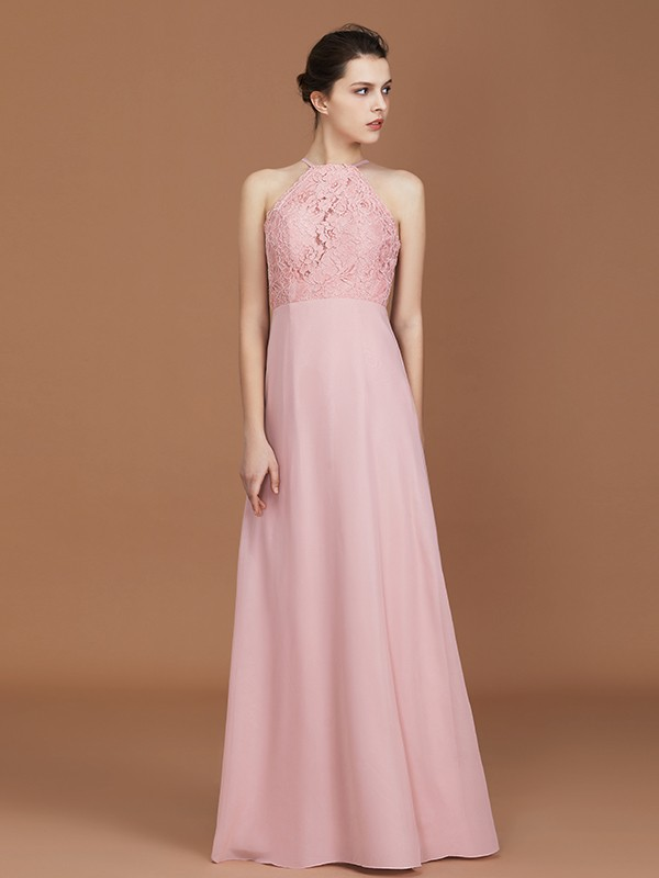 Charming A-Line Halter Sleeveless Floor-Length Chiffon Bridesmaid Dress