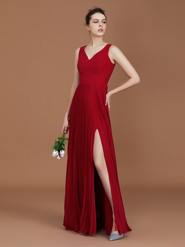 Chic A-Line Sleeveless V-neck Floor-Length Chiffon Bridesmaid Dress
