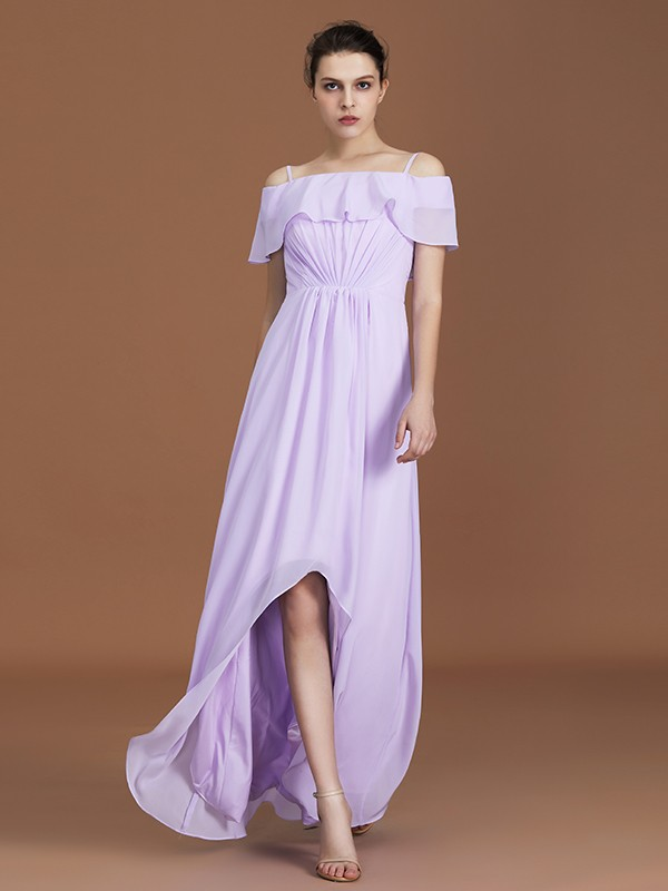 Glamorous A-Line Asymmetrical Short Sleeves Off-the-Shoulder Chiffon Bridesmaid Dress