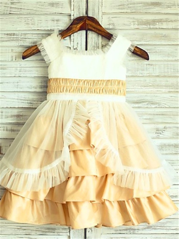 Perfect A-line Square Sleeveless Layers Tea-Length Satin Flower Girl Dress