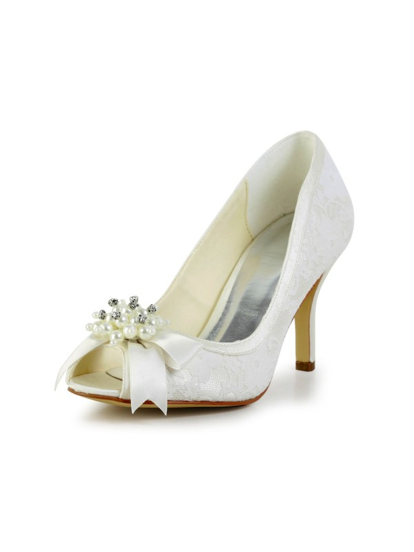 Exquisite Women Satin Stiletto Heel Pumps Imitation Pearl and Ivory Wedding Shoes