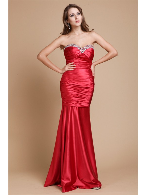 Hot Sale Mermaid Sweetheart Long Sleeveless Elastic Woven Satin Dress